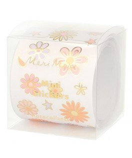 Rouleau 500 Stickers Flower Power