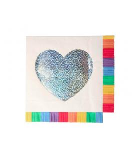 16 Grandes serviettes Coeur à franges