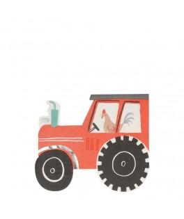16 Serviettes Tracteur de Ferme