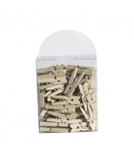 50 Mini pinces à linge bois naturel 2,5 cm