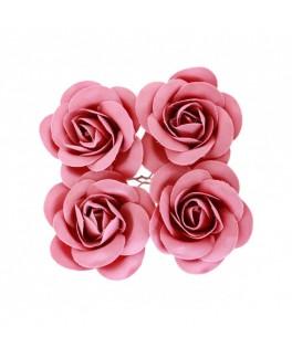 4 Roses à piquer satin fuchsia