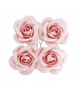 4 Roses à piquer satin rose pastel