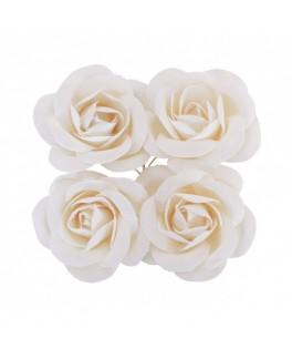 4 Roses à piquer satin blanc