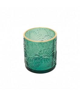 Photophore verre relief feuilles vertes