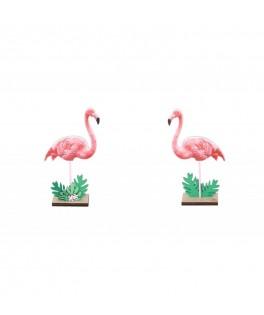 Centre de table en bois Flamant rose - 15 cm