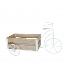 Vélo métal blanc et bois