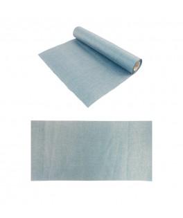 Chemin de table burlap bleu métal