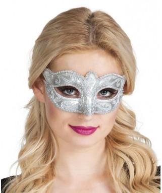 Masque Loup Venice Felina paillettes argentées