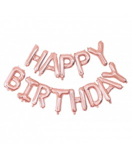 Guirlande de ballons HAPPY BIRTHDAY rose gold - 1,50 m
