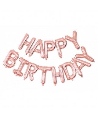 Guirlande de ballons HAPPY BIRTHDAY rose gold - 1,50 m