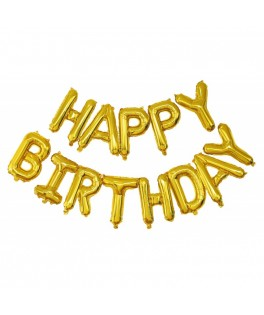 Guirlande de ballons HAPPY BIRTHDAY dorée - 3 m