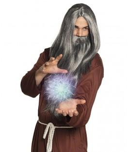 Perruque longue grise Magicien avec moustache grise