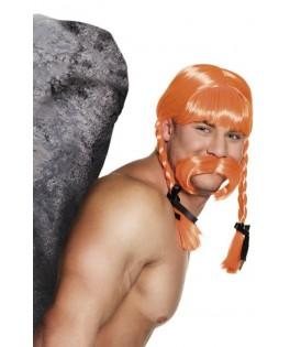 Perruque Gaulois orange avec tresses et moustache
