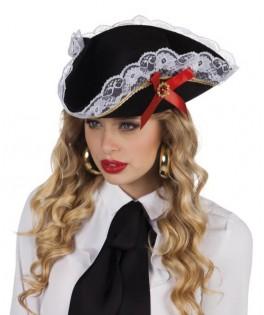 Chapeau de Pirate noir et dentelle blanche