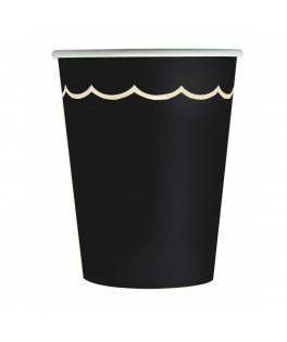 8 Gobelets festonnés noir & or