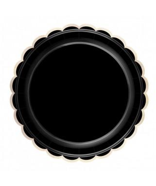 8 Assiettes festonnées noir & or