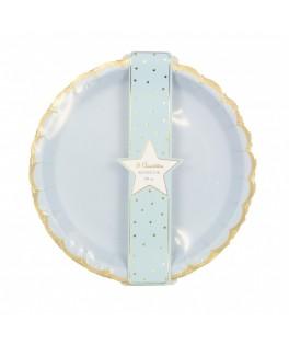 8 Grandes assiettes bleu pastel & or