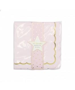 16 Serviettes rose pastel & or