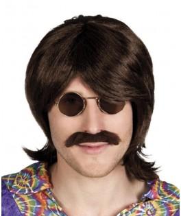 Perruque Gary noire avec moustache