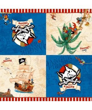 serviettes anniversaire pirate capt'n Sharky