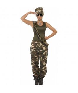 Déguisement Costume Camouflage kaki Femme