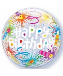 Ballon Bubble Happy Birthday Bougies anniversaire