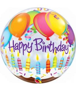 Ballon Bubble Happy Birthday Bougies & Ballons Anniversaire