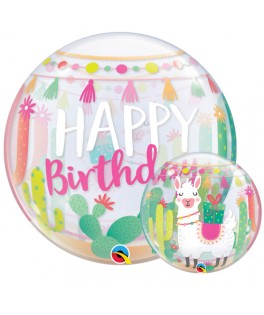 Ballon Bubble Happy Birthday Petit Lama