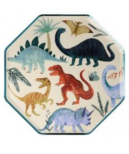 8 Grandes Assiettes Royaume des Dinosaures 18 cm