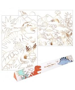 Set de 2 posters Royaume des Dinosaures à colorier