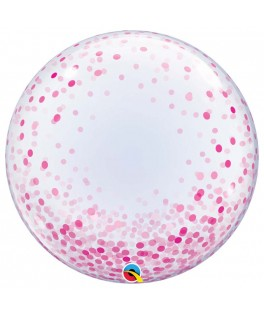 Ballon Deco Bubble Confettis rose