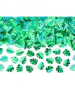 Confettis métallisés feuilles tropicales