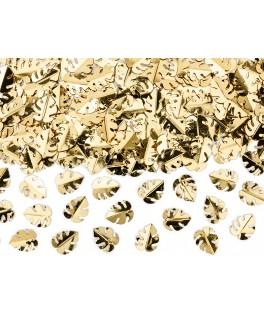 Confettis métallisés feuilles tropicales or