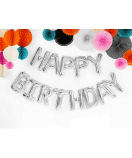 Guirlande de ballons HAPPY BIRTHDAY argentée - 3,40 m