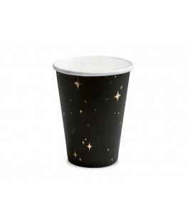 6 Gobelets noirs Etoiles or