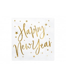 20 Serviettes papier Happy New Year Or