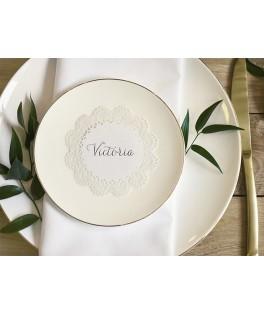 10 Marque-places dentelle rosette blanche