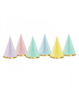 6 Chapeaux pointus assortiment pastel