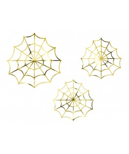 3 Décorations Toile d'araignée métal or