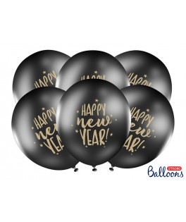 6 Ballon latex noir Happy New Year