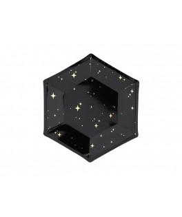 6 Assiettes noires & étoiles dorées