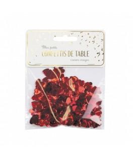 Confettis de table coeurs rouges