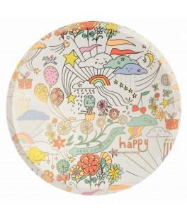 8 Grandes assiettes Happy Doodle