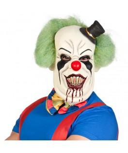 Masque latex Clown d'horreur de luxe avec cheveux