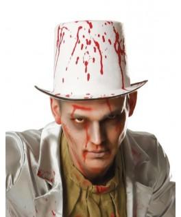 Chapeau Haut de forme blanc avec sang