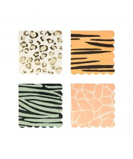 16 Petites serviettes motifs Safari