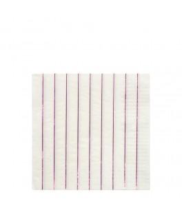16 Grandes serviettes rayures roses 33 cm
