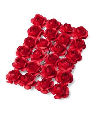 mini roses rouges sur tige