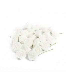 24 Roses en mousse blanches pailletées 4 cm