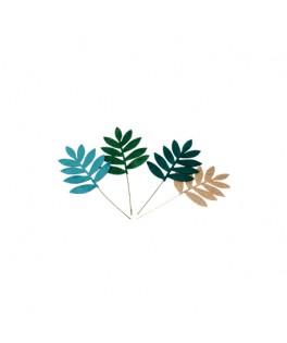 4 Feuilles de palmier velours vert et paillettes or